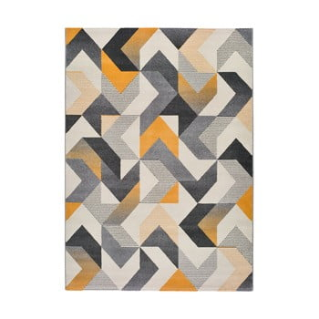 Covor Universal Gladys Abstract, 160 x 230 cm, portocaliu-gri imagine
