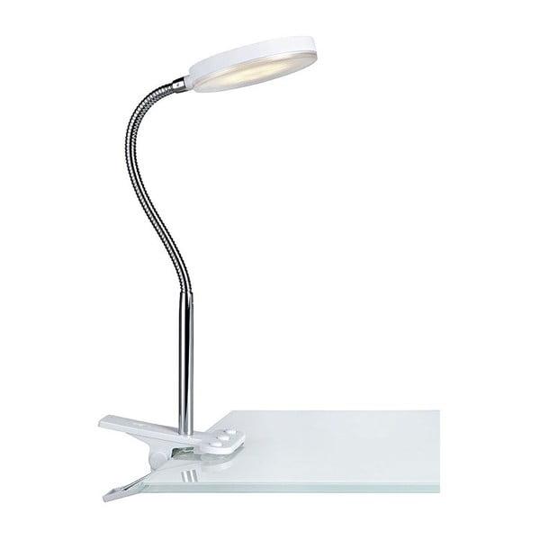 Biela stolová LED lampa so štipcom Markslöjd Flex