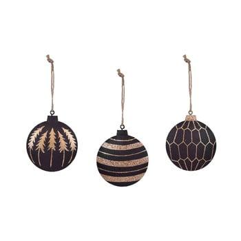 Set 3 decorațiuni pentru bradul de Crăciun Ego Dekor, auriu - negru imagine