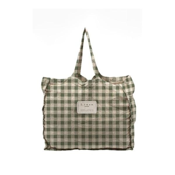 Geantă textilă Linen Couture Linen Bag Green Vichy