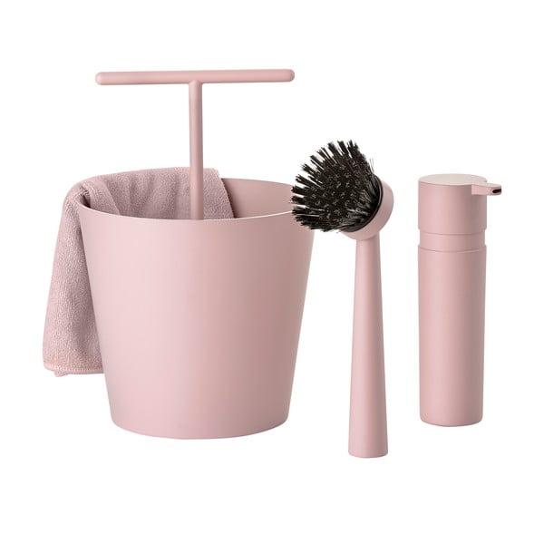 Sada na mytí nádobí Bucket, starorůžová