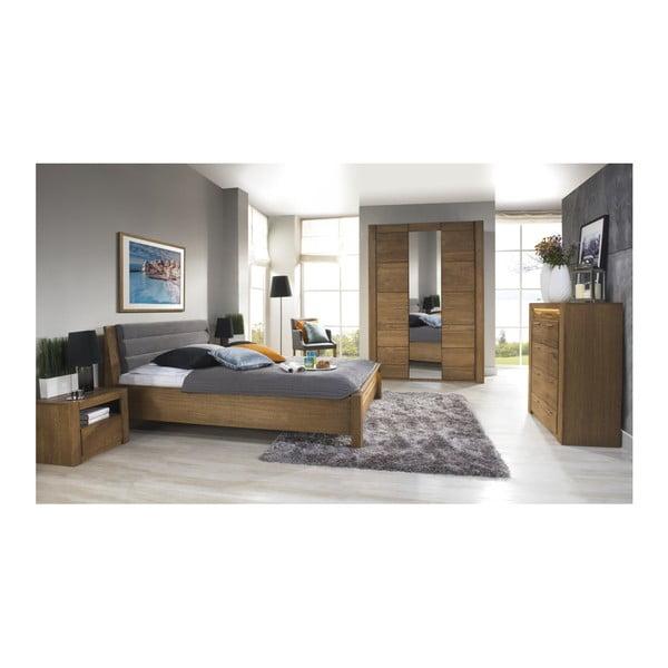 Dvoulůžková postel s krémovým čalouněním Szynaka Meble, 160 x 200 cm