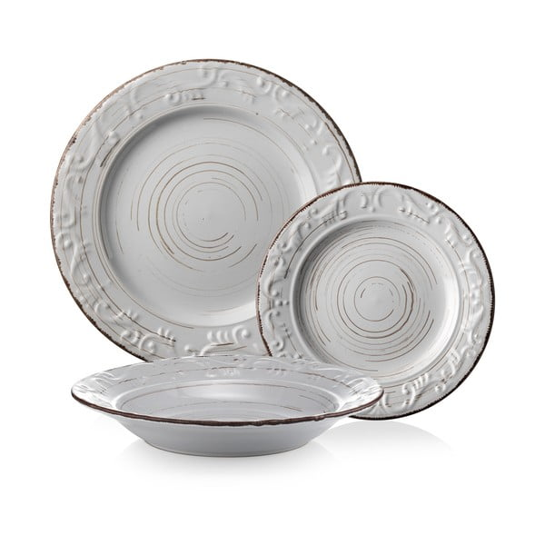 Sada 18 talířů Derby, bílá