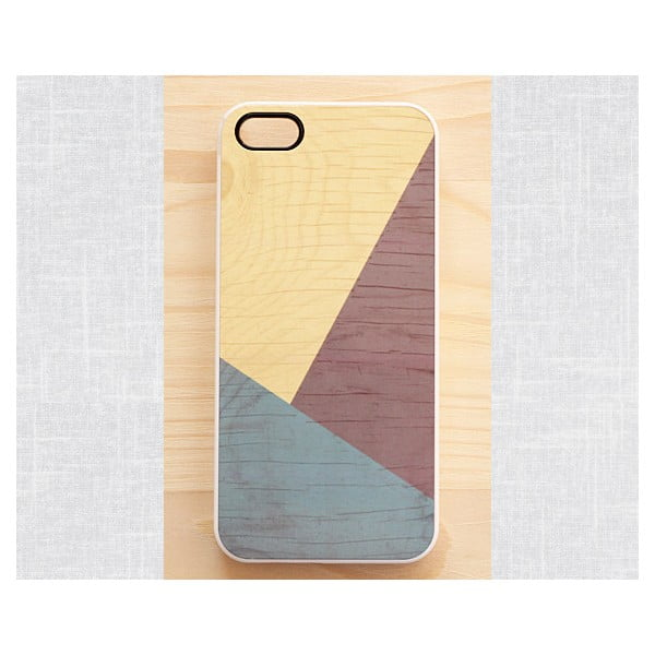 Obal na iPhone 5, Earth Geometric Wood/white