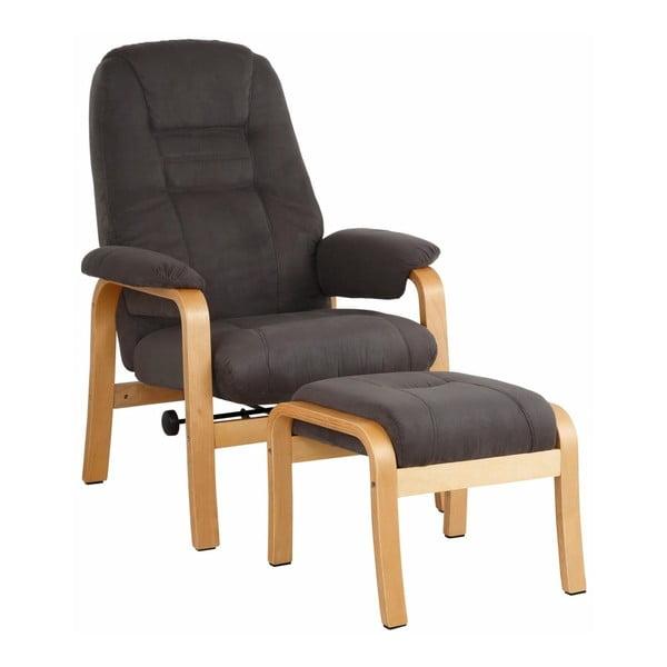 Brązowy fotel z podnóżkiem Støraa Micro