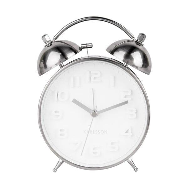 Ceas alarmă Karlsson Wake Up, argintiu