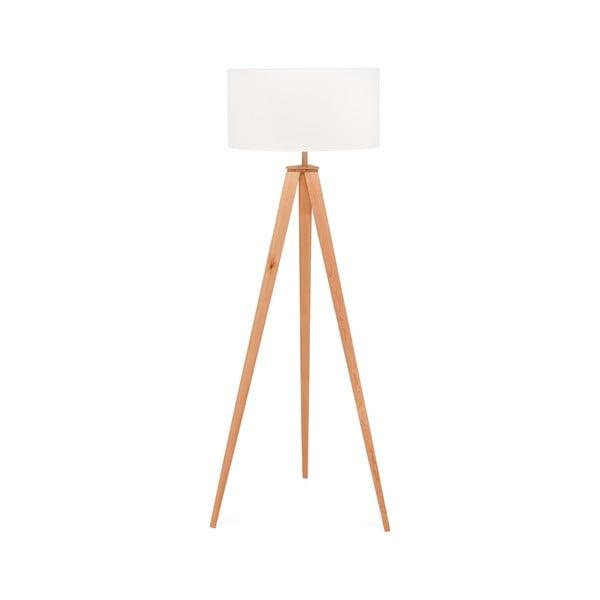 Stojací lampa s dřevěnými nohami a bílým stínidlem loomi.design Karol