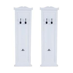 Sada 2 bílých dřevěných nástěnných věšáků Mendler Shabby Garderobe