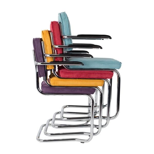 Sada 2 šedých židlí s područkami Zuiver Ridge Kink Rib Taupe
