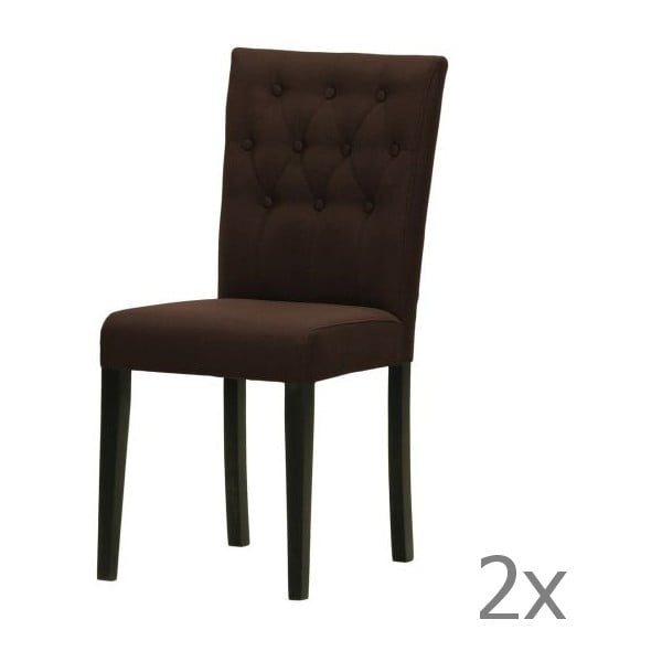 Sada 2 židlí Monako Etna Dark Brown, černé nohy