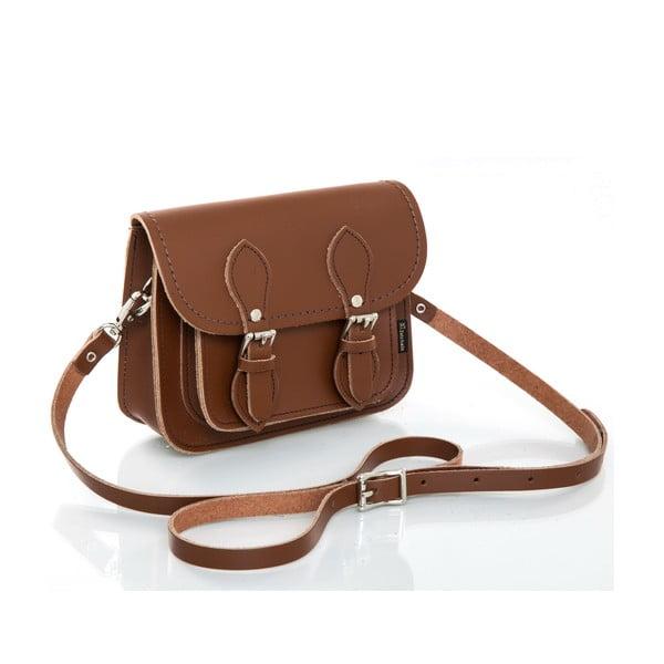 Kožená kabelka Satchel 18 cm, oříškově hnědá