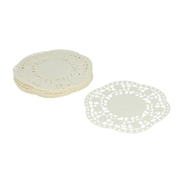 Zestaw 40 białych ozdobnych papierowych serwetek pod tort Metaltex, ø 11 cm