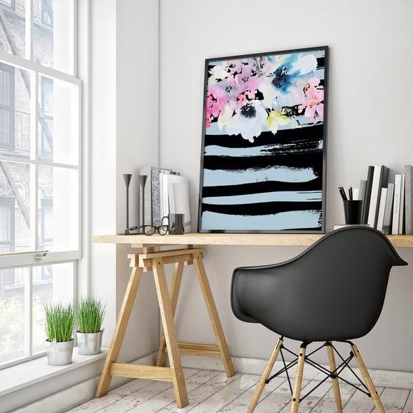 Plakát s květinami, černo-modré pozadí, 30 x 40 cm