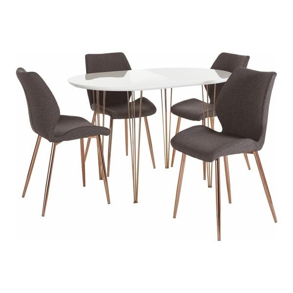 Set bílého jídelního stolu a 4 šedých jídelních židlí Støraa Emil and Annie