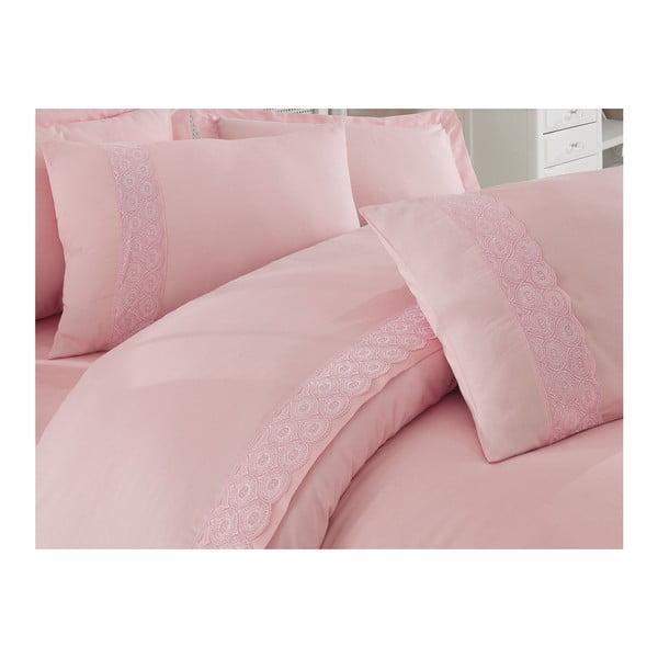 Lenjerie de pat cu cearșaf din bumbac satinat Marla, 200 x 220 cm