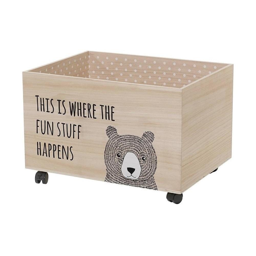 ec355f082 Úložný box na hračky na kolečkách ze dřeva paulownia Bloomingville Fun Stuff