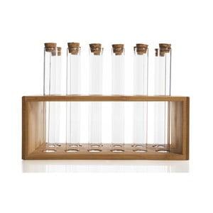 Set 12 recipiente pentru condimente în suport de bambus Bambum Vanilla