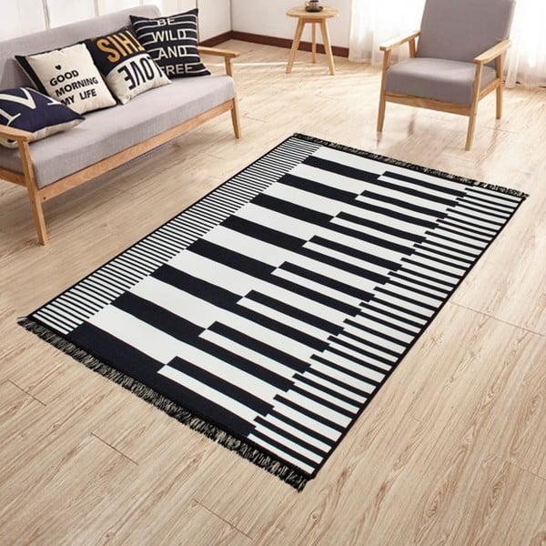 Černo-bílý oboustranný koberec Klotho, 80 x 150 cm