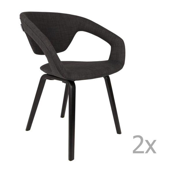 Set 2 scaune cu picioare negre Zuiver Flexback, negru