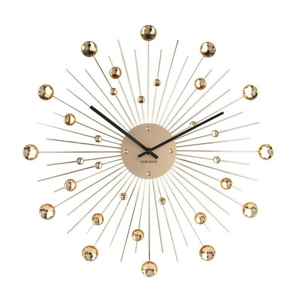 Nástěnné hodiny z krystalů zlaté barvy Karlsson Sunburst