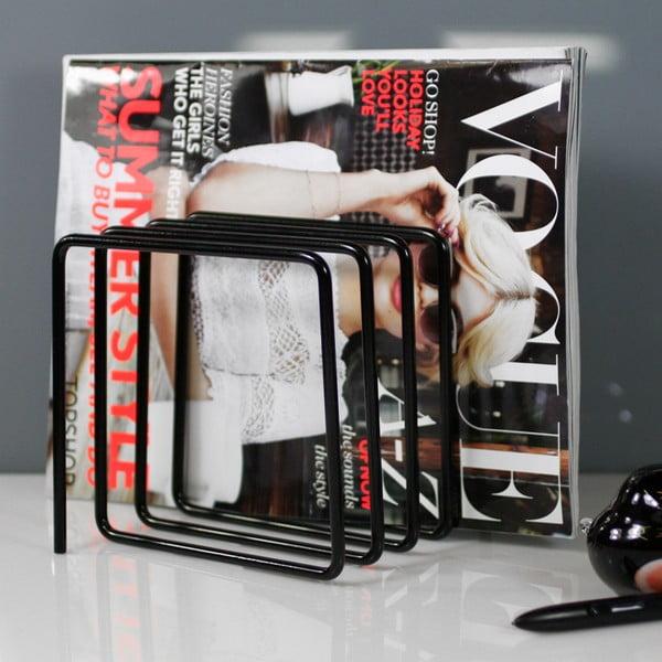 Černý stojan na časopisy Magazine Rack
