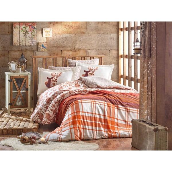 Lenjerie și cearceaf din bumbac pentru pat de o persoană Hobby Valentina Brown, 160 x 220 cm