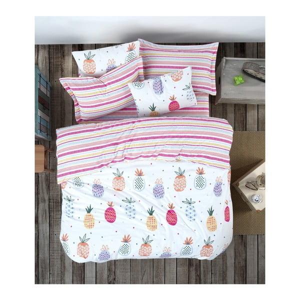 Lenjerie de pat cu cearșaf din bumbac ranforce, pentru pat dublu Mijolnir Iva Mix, 200 x 220 cm