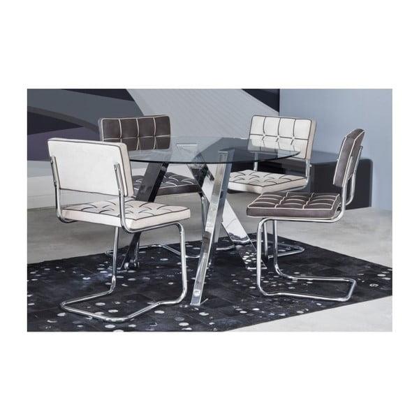 Jídelní stůl ve stříbrné barvě s temperovaným sklem Kare Design Mikado, ⌀ 120 cm