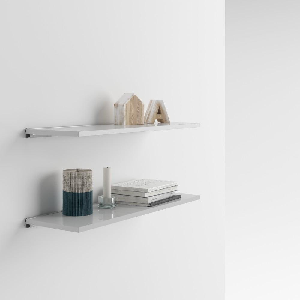Sada 2 lesklých bílých nástěnných poliček MobiliFiver Mena, 60 x 15 cm