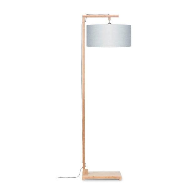 Stojací lampa se světle šedým stínidlem a konstrukcí z bambusu Good&Mojo Himalaya