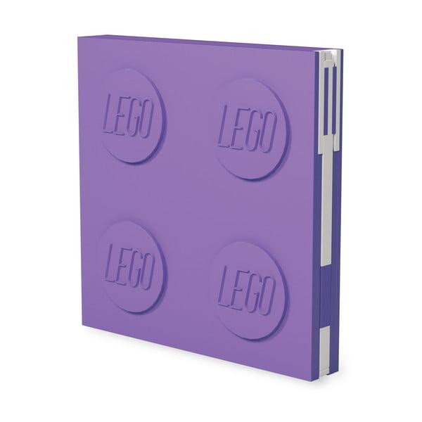 Fialový štvorcový zápisník s gélovým perom LEGO®, 15,9 x 15,9 cm