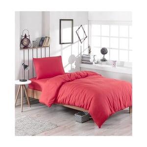 Červené povlečení s příměsí bavlny na jednolůžko Paint, 140 x 200 cm