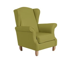 Zelené křeslo ušák Max Winzer Verita Leather Green