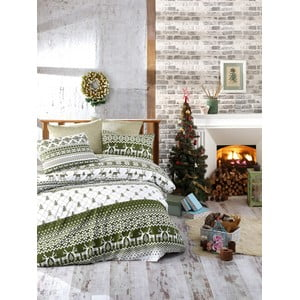 Lenjerie cu cearceaf pentru pat de o persoană, din bumbac ranforsat Nazenin Home Winter Green, 140 x 200 cm