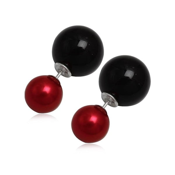 Náušnice Double Pearl Red and Black