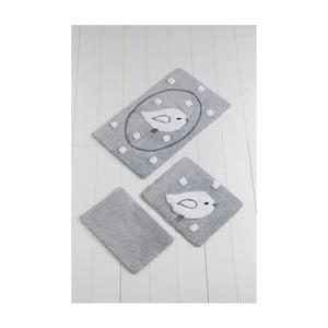 Sada 3 šedých koupelnových předložek Birdie