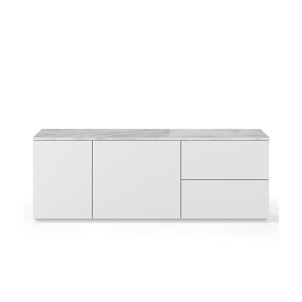 Comodă cu blat din marmură albă, cu 2 sertare și 2 uși TemaHome Join, alb