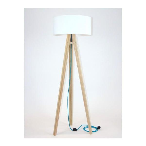 Wanda állólámpa, fehér lámpabúrával és türkiz kábellel - Ragaba