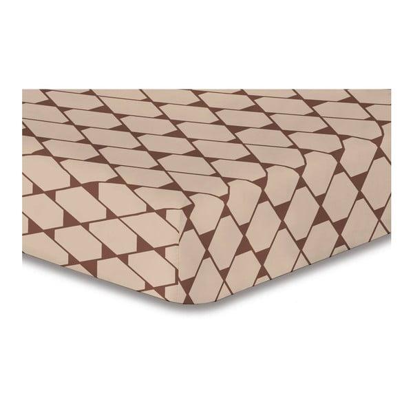 Béžové elastické prostěradlo se vzorem DecoKing Rhombuses,120x200cm
