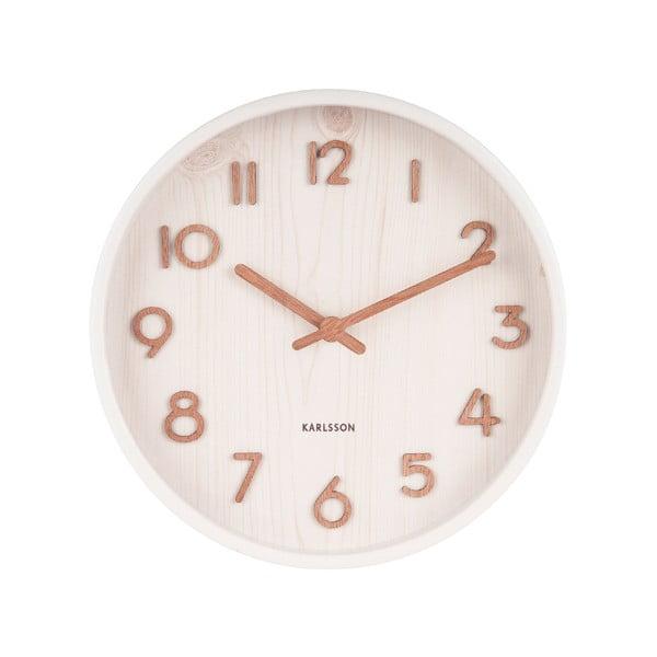Bílé nástěnné hodiny z lipového dřeva Karlsson Pure Small, ø 22cm