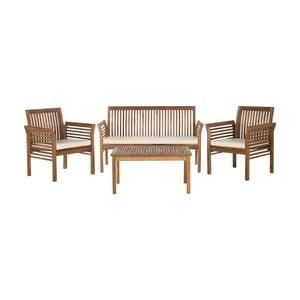 Hnědý set dřevěného venkovního stolu a židlí Safavieh Sardinia