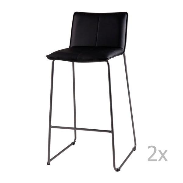 Set 2 scaune de bar sømcasa Lou, negru