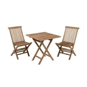 Masă de exterior cu 2 scaune din lemn de tec Santiago Pons Salvatore