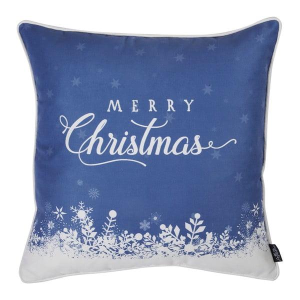 Modrá obliečka na vankúš s vianočným motívom Apolena Honey Merry Christmas, 45×45 cm