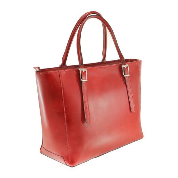 Červená kožená kabelka Tami