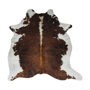 Covor din piele de vacă, 210 x 185 cm, maro - alb