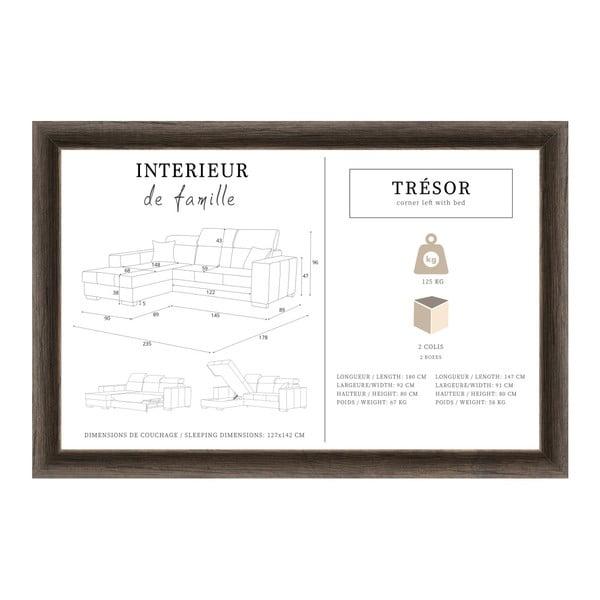 Hnědá rozkládací sedačka Interieur De Famille Paris Tresor, levý roh