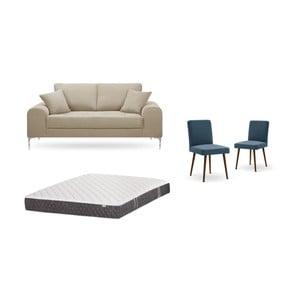 Set dvoumístné šedobéžové pohovky, 2modrých židlí a matrace 140 x 200 cm Home Essentials