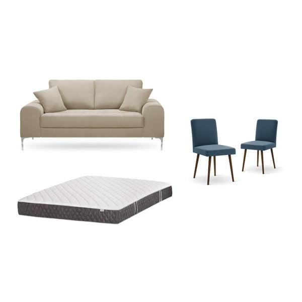 Set canapea gri deschis, 2 scaune albastre, o saltea 140 x 200 cm Home Essentials