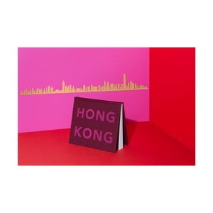 Pozlacená nástěnná dekorace se siluetou města The Line Hong Kong